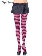 Nylon Striped Tights Black Pink - Leg Avenue Pantyhose and Tights