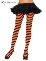 Nylon Striped Tights Black Orange - Leg Avenue Pantyhose and Tights