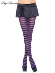 Nylon Striped Tights Black Purple - Leg Avenue Pantyhose and Tights