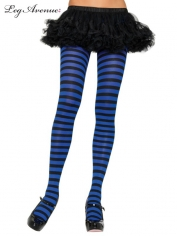 Nylon Striped Tights Black Blue - Leg Avenue Pantyhose and Tights