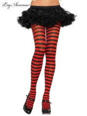 Nylon Striped Tights Black Red - Leg Avenue Pantyhose and Tights