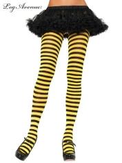 Nylon Striped Tights Black Yellow - Leg Avenue Pantyhose and Tights
