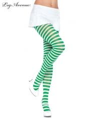 Nylon Striped Tights Black Kelly Green - Leg Avenue Pantyhose and Tights