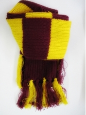 Maroon Gold Striped Scarf - Harry costume accessory