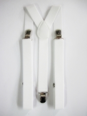 White Suspenders - Costume Accessories