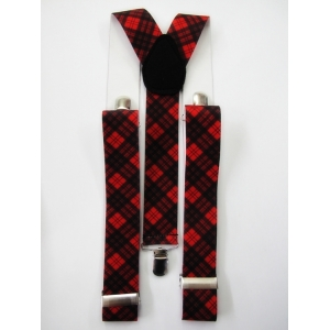 Red Black Check Suspenders - Costume Accessories