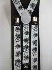 White Suspenders with Spiders
