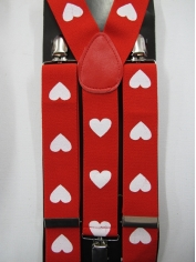 Red White Heart Suspenders