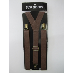Brown Leather Look Suspenders