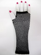 Black Long Fingerless Fishnet Gloves