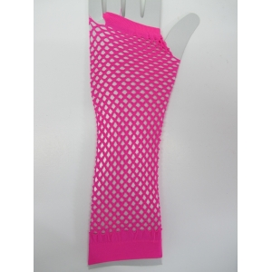 Pink Long Fingerless Fishnet Gloves