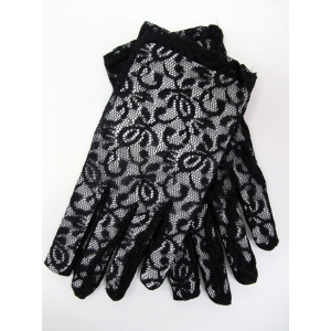 Short Black Lace Gloves - Costume Accessories