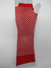 Red Long Fingerless Fishnet Gloves