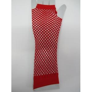 Red Long Fingerless Fishnet Gloves