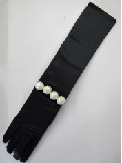 Deluxe Long Black Gloves with Pearl