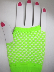 Neon Green Short Mesh Gloves