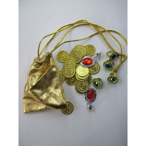 Pirate Jewelry with Gold Bag - Plastic Toys