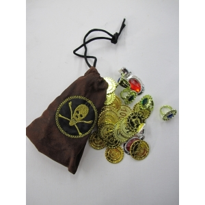 Pirate Jewelry with Brown Bag - Plastic Toys