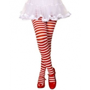 Girl Red and White Striped Tights