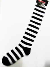 Children Black and White Striped Knee High Socks