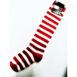 Children Red and White Striped Knee High Socks