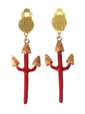Devil Red Pitchfork Earrings - Halloween Accessories