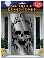 Metallic Skull Door Cover - Halloween Decorations