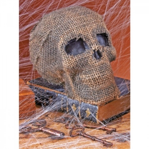 Burlap Skull with Jaw - Halloween Decorations