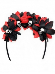 Red and Black Flower Headband with Skulls