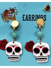 Sugar Skull Earrings - Halloween Decorations