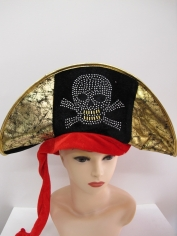 Pirate Hat with Gold Skull and Crossbones