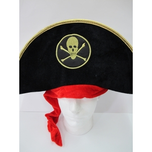 Black Pirate Hat with Skull and Crossbones