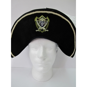 Black Pirate Hat with Gold Skull and Crossbones
