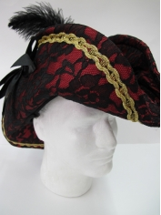 Pink Pirate Hat with Black Lace