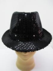 Black Sequin Trilby - Hat