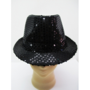 Black Sequin Trilby - Hat