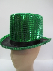 Green Sequin Top Hat - Hat