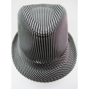 Gray Trilby with White Strips