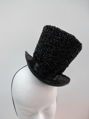 Black Glitter Mini Top Hat
