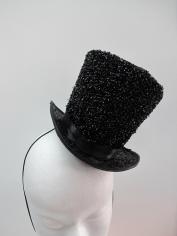 Black Glitter Mini Top Hat