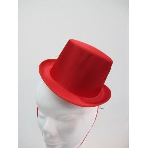 Red Satin Mini Top Hat