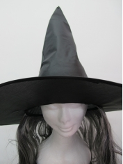 Black Witch Hat With Hair - Halloween Costume Accessories