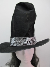 Black Top Hat With Hair - Halloween Costume Accessories