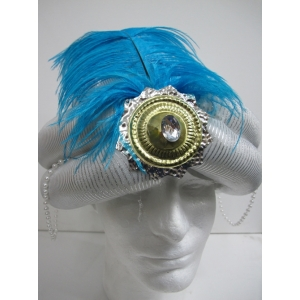 Silver Turban with Jewelry - Hats