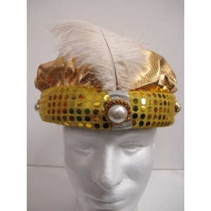 Gold Sequin Turban with Jewelry - Hats