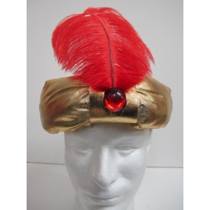 Gold Turban with Red Feather - Hats