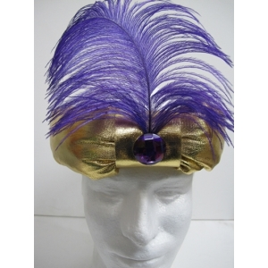 Gold Turban with Purple Feather - Hats