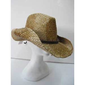 Straw Cowboy Hat with Leather Band
