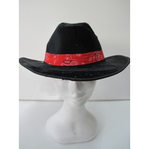 Black Cowboy Hat with Red Band