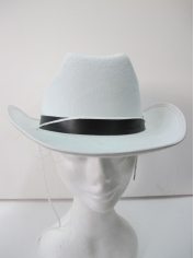 White Cowboy Hat with Black Band